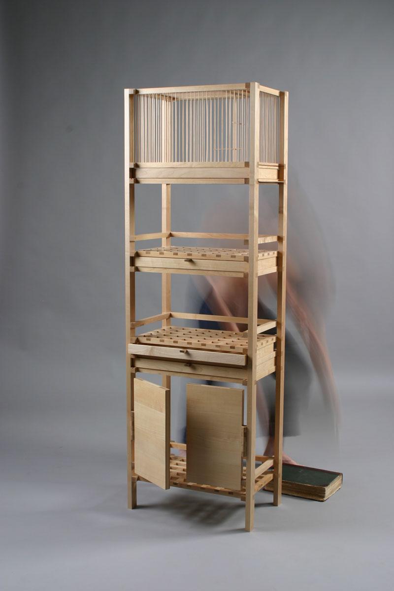 этажерка с клеткой для птиц